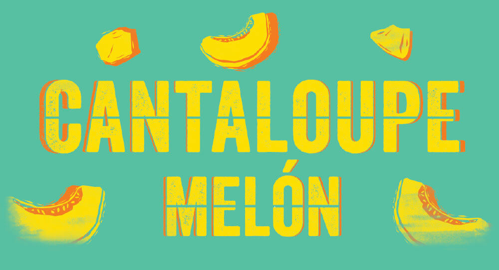 Signage with Cantaloupe Melón Written on it.