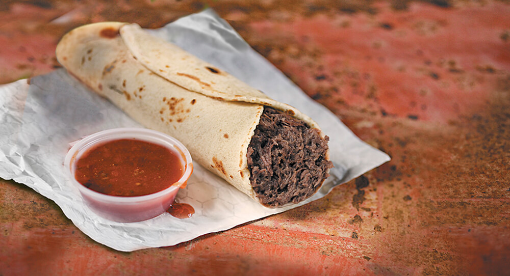 Barbacoa Meat on Napkin with salsa