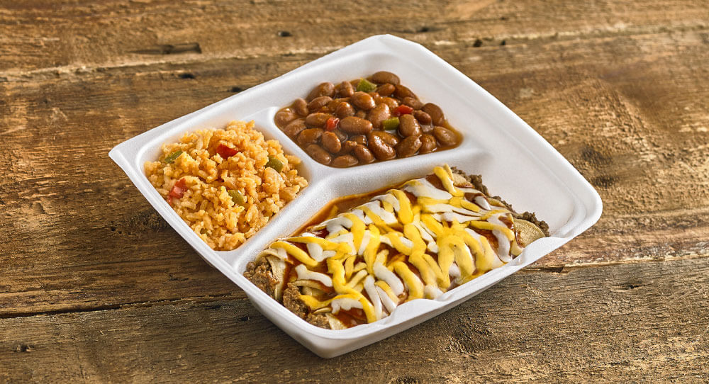 Enchilada Plate with Beans and Rice