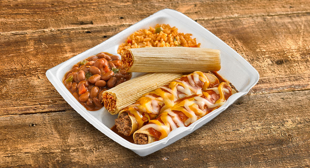 Two Enchiladas and Tamales with Rice and Beans