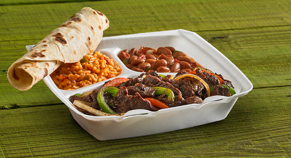 Beef Fajita Plate with Beans and Rice