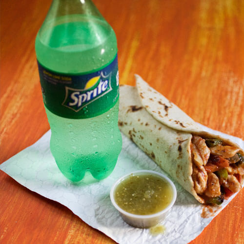 Taco with Sprite on Napkin
